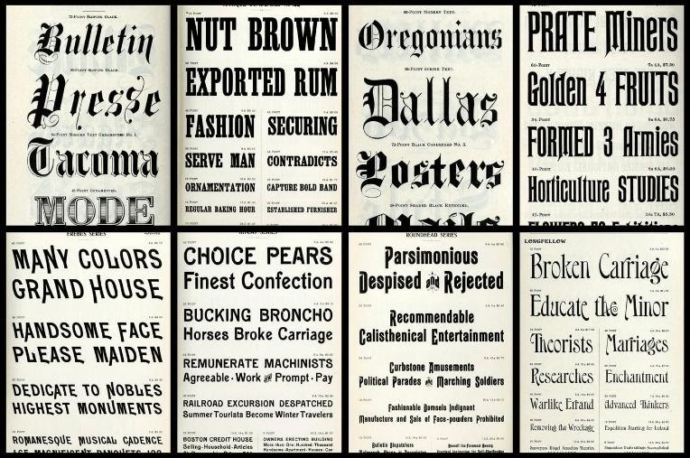 illustrason av forskjellige fonter og fontkombinasoner