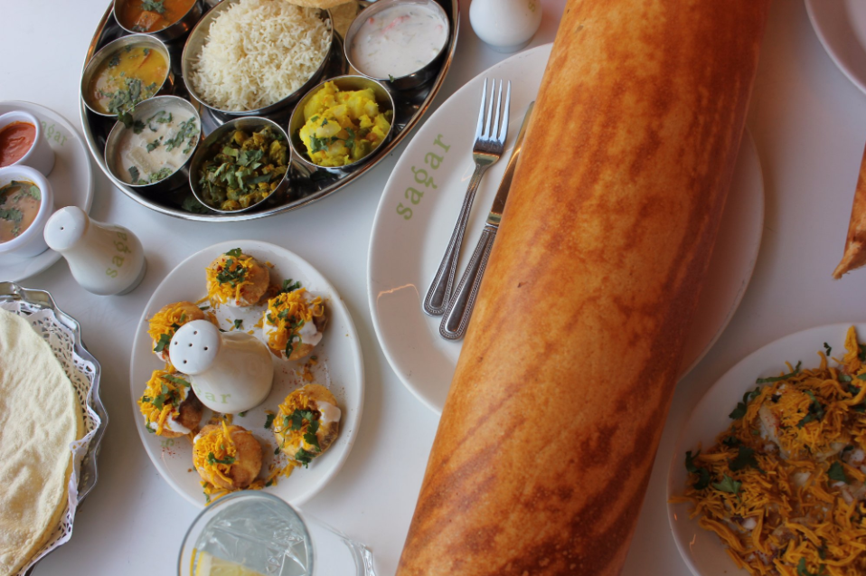 Photo of a spread of vegetarian dishes from Sagar