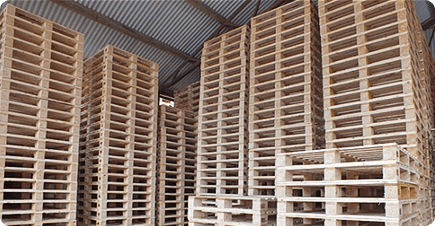 A stack of new Euro pallets manufactured by BWP