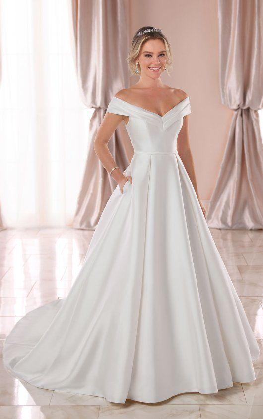 one shoulder tulle over satin column bridal gown