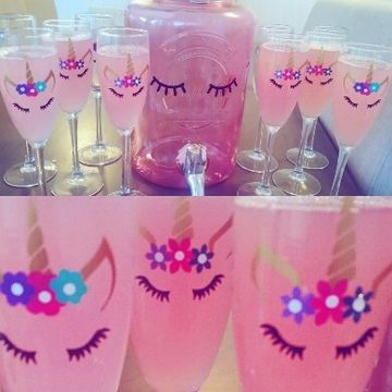 Pink juice in Unicorn themed flute glasses!  £2 per person