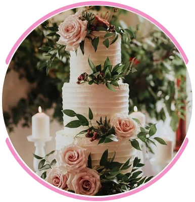pink coloured cake with floral design