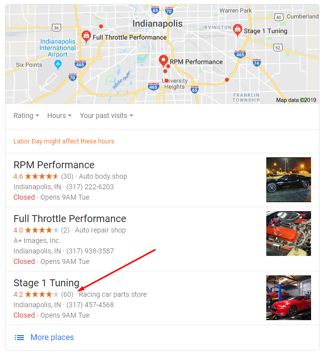 Google listings for