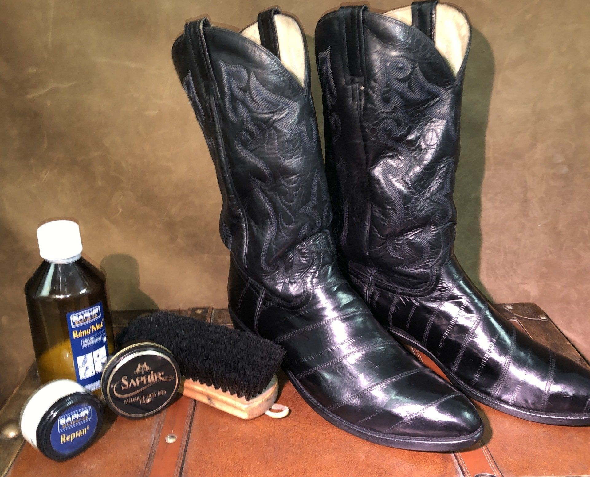 Dan Post Boots Eel Skin Treatment and Care with Saphir Products