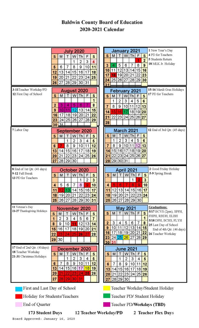 Baldwin County School Calendar 2021-2022 Baldwin County Public Schools 2020 21 school calendar