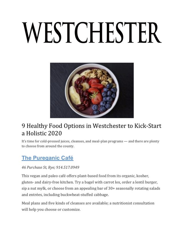 Westchester County Restuarants Open On Christmas Day 2020 Westchester Magazine names Pureganic one of the best healthy