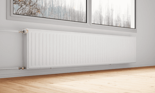 central heating system installation in a living room