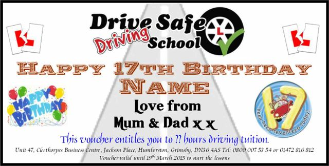 Drive Safe Driving School Birthday Christmas Gift Vouchers