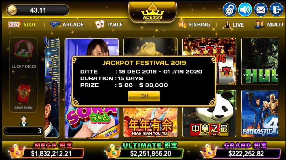 ACE333 Jackpot Festival up to MYR 28,888