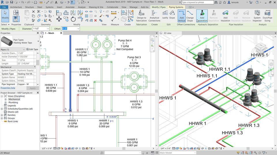 revit complex piping network design
