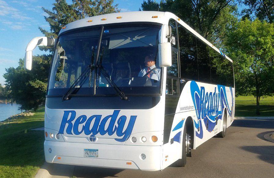 Tour bus on a mountain road