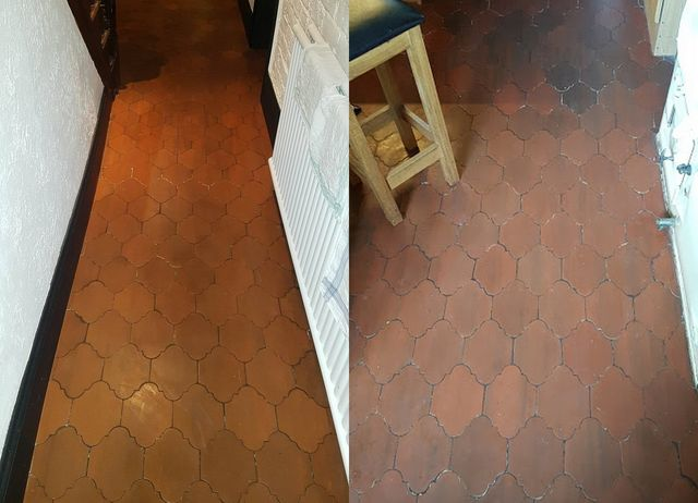 Quarry Tile Floor And Grout Wax Stripping Cleaning Sealing In
