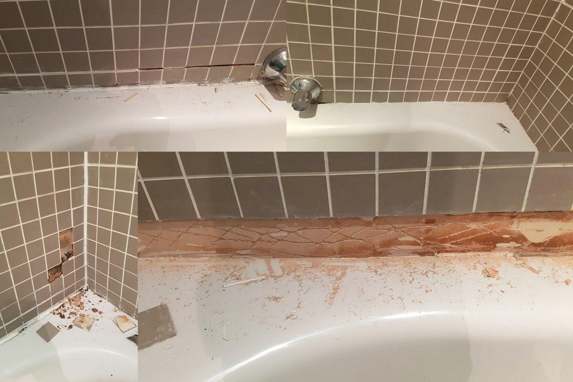 bathroom wall ceramic tile repairs and regrouting in