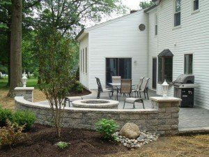 Backyard Makeover Patio Fire Pit Decorative Wall Seating And Landscaping