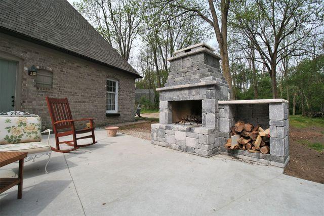 Concrete Block Outdoor Fireplace