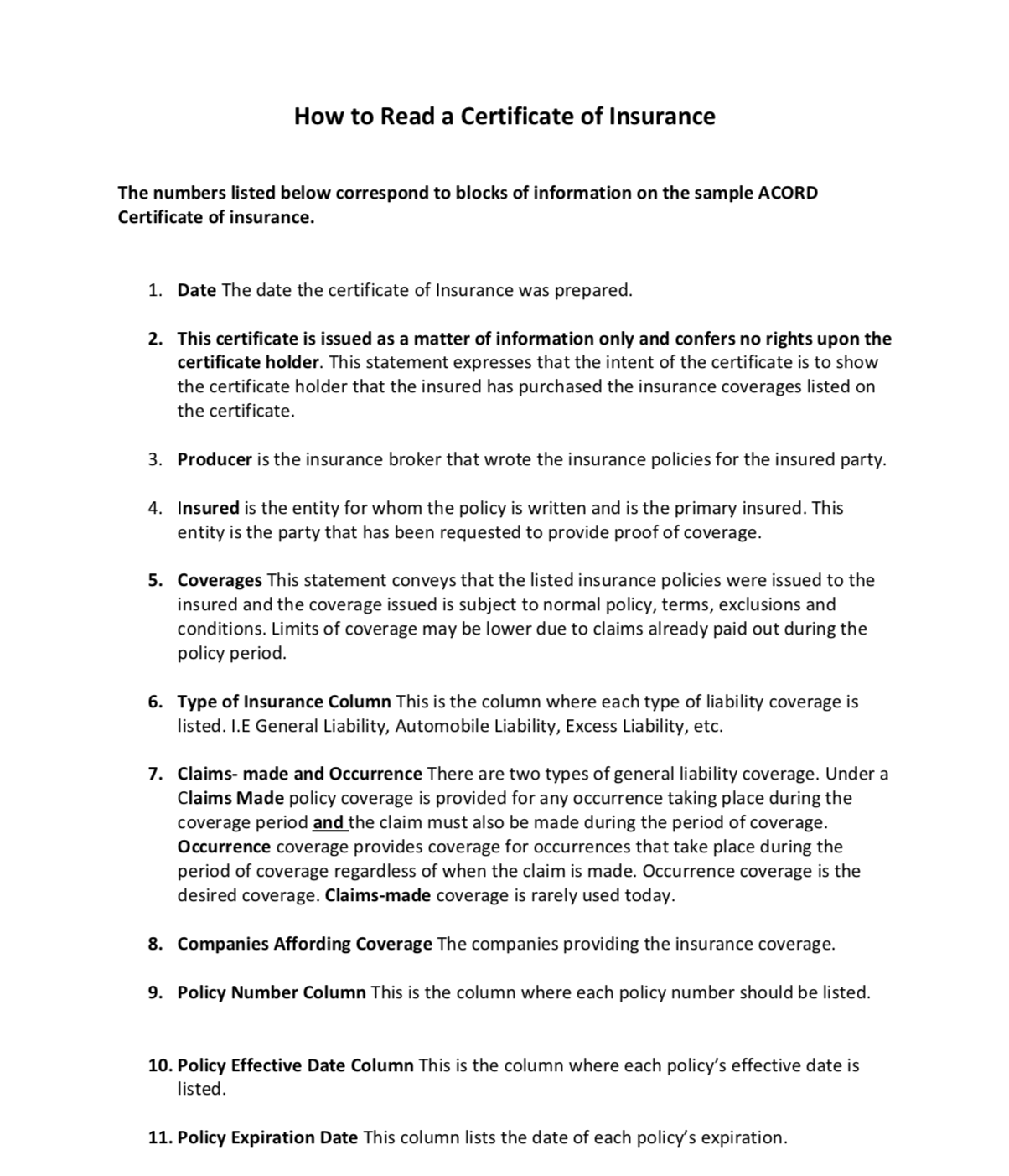 How To Read A Certificate Of Insurance